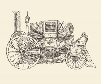 Póster Steam punk carriage, engraved style, vector illustration