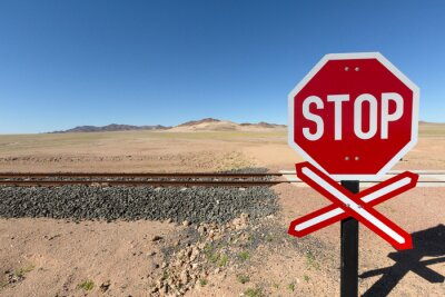 Stop sign in Namib desert