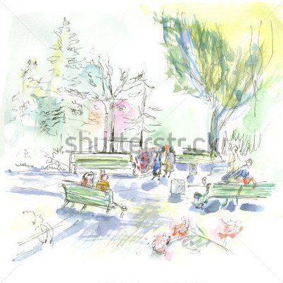 Póster Summer park, sketch, watercolor
