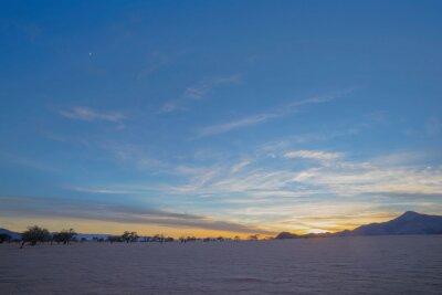 Sunrise in dry Namib Desert