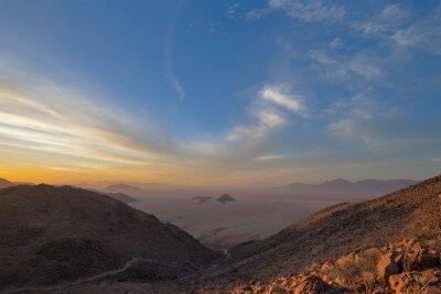 Sunset during dust storm in the Namib Desert