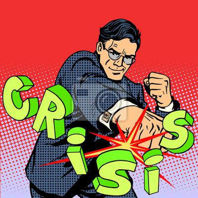 Super businessman hero against crisis business concept