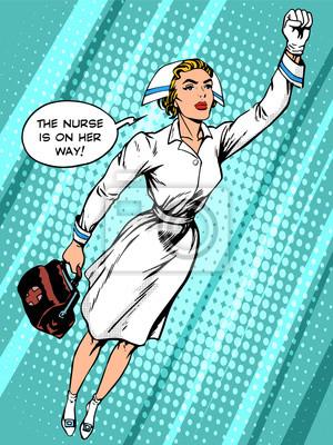 Super héroe enfermera vuela al rescate