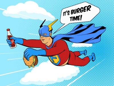 Póster Superhéroe hombre gordo y hamburguesa vector de cómic