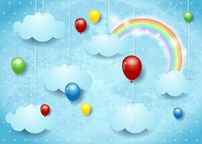 Póster Surrealista cloudscape con globos de colores