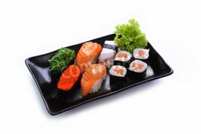Póster sushi aislado en un fondo blanco