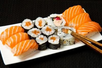 Póster Sushi Set sobre negro