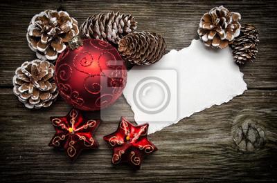 Tarjeta de felicitación de Navidad en la parte superior de madera