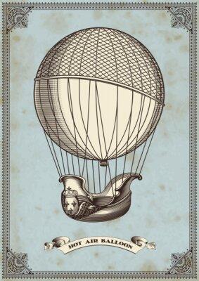 Póster tarjeta de la vendimia con el globo de aire caliente