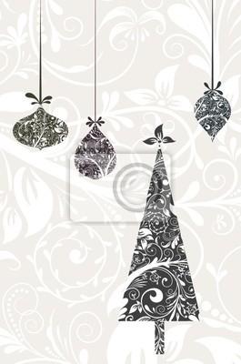 Póster Tarjeta de Navidad con un ornamento, vector