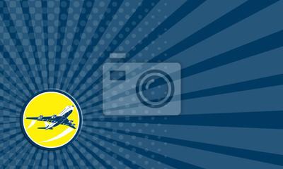 Tarjeta de visita comercial Jet Plane aerolínea retro del círculo