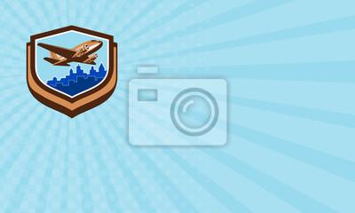 Tarjeta de visita El aeroplano del vintage quita el escudo del paisaj