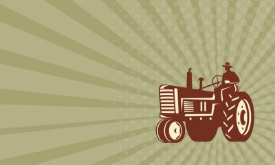 Póster Tarjeta de visita Granjero que conduce el vintage Tractor Retro
