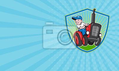 Tarjeta de visita Granjero que conduce la historieta del tractor del