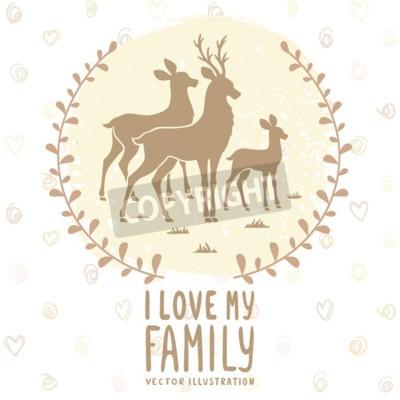 Póster Tarjeta elegante con la silueta de ciervos hermosos de la familia. Ilustración del vector