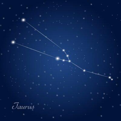 Póster Tauro signo del zodiaco constelación en el cielo nocturno estrellado