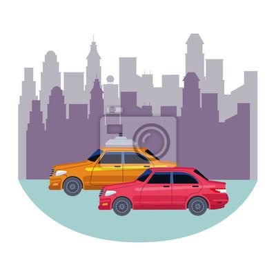 taxi cars public transport cartoon