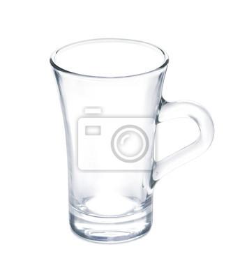 Taza vacía del vaso limpio - de cristal transparente aislado en w