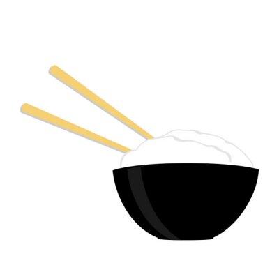 Póster Tazón de arroz con dos palillos