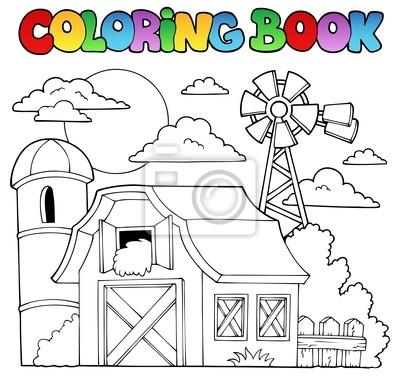 Tema de la granja libro para colorear 1 carteles para la pared ...