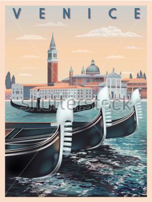 Póster Temprano en la mañana en Venecia, Italia. Plantilla de viaje o tarjeta postal. Todos los edificios son objetos diferentes. Dibujo hecho a mano ilustración vectorial. Estilo vintage.