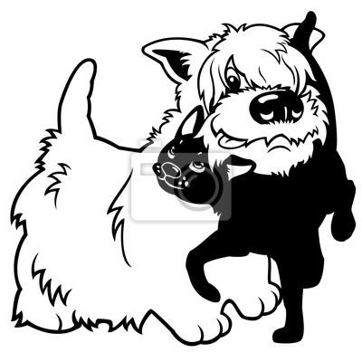 Terrier Del Oeste De Dibujos Animados Y El Gato Negro Carteles Para