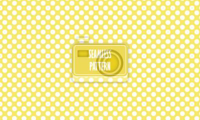 Póster Textura transparente de fondo amarillo con lunares blancos. Patrón de textura en amarillo. Papel tapiz de bebé, de fondo para su diseño, vivero, habitación