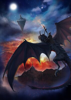 Póster The dragon warrior are sitting on the dragon flying to the floating island with sky and burning background.  2D artwork.