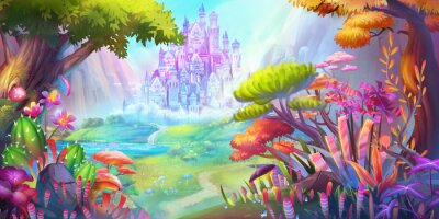 Póster The Forest and Castle. Mountain and River. Fiction Backdrop. Concept Art. Realistic Illustration. Video Game Digital CG Artwork. Nature Scenery.