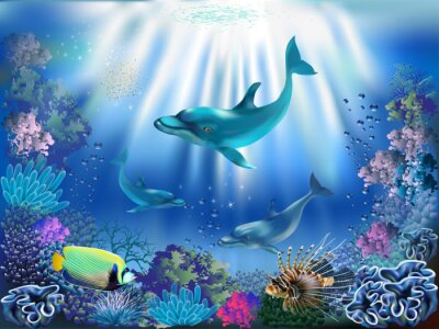 Póster The underwater world with dolphins and plants