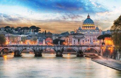 Póster Tiber y Basílica de San Pedro en el Vaticano con arco iris, Roma