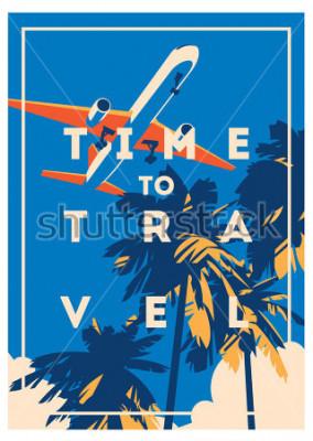 Póster Tiempo para viajar y cartel de vacaciones de verano.