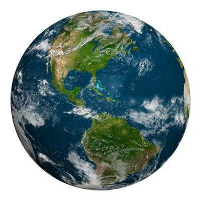 Póster Tierra del planeta con las nubes. Del Norte y América del Sur.