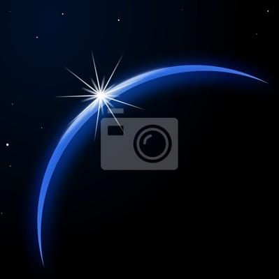 Tierra del planeta con salida del sol en el espacio - Ilustración