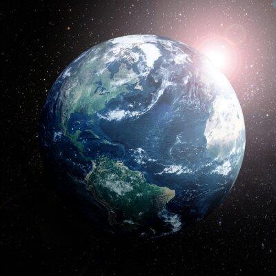 Póster Tierra en el espacio mostrando Europa, Asia y África