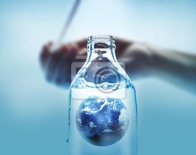 Tierra en un ambiente vibrante concepto botella