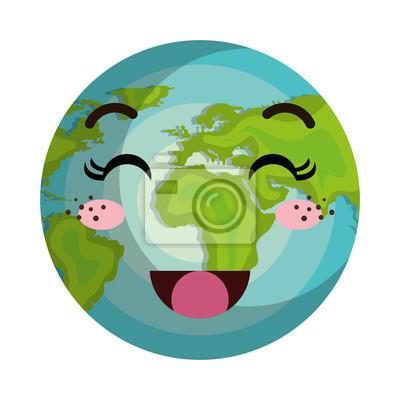 Tierra Mundo Planeta Kawaii Dibujos Animados Con Cara De Expresión