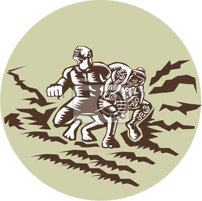 Tiitii Wrestling Dios del Terremoto Circle Woodcut
