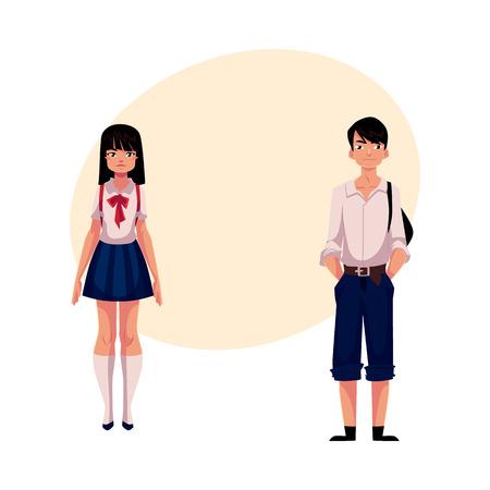 Póster Típicos adolescentes estudiantes japoneses, colegiala y colegial, en uniforme típico, ilustración vectorial de dibujos animados con lugar para el texto. Retrato de cuerpo entero de estudiantes típicos