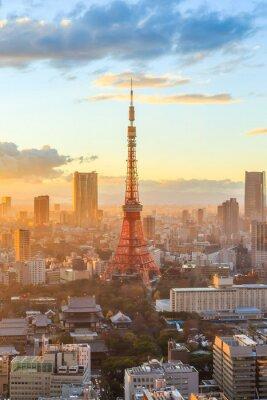 Póster Tokio horizonte de la ciudad al atardecer en Tokio