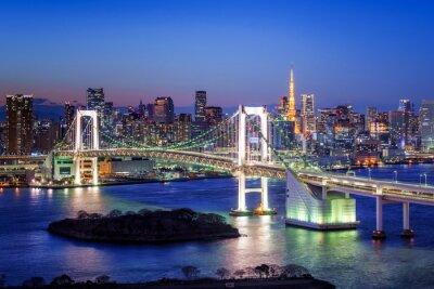 Póster Tokio Rainbow Bridge und Torre de Tokio