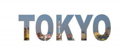 Póster Tokio señal de nombre de la ciudad con la foto en el fondo. Aislado sobre fondo blanco ..