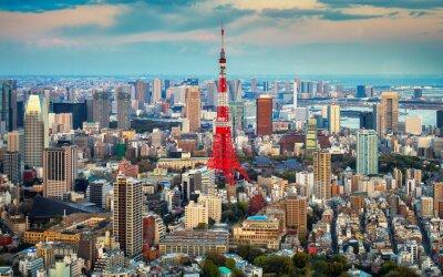 Póster Tokio vista a la ciudad visible en el horizonte
