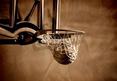 Póster Toma de acción de baloncesto de pasar por el aro de baloncesto y red