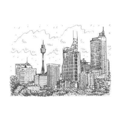 Póster Torre de Sydney y vista de los rascacielos de Sydney, Australia. Vector a mano alzada dibujo a lápiz.