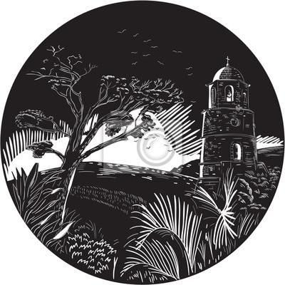 Torre del campanario en árboles de la colina grabado en madera del círculo