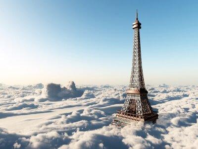 Póster Torre Eiffel por encima de las nubes