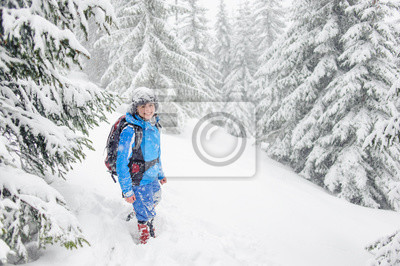 tourist girl standing in a winter forest and looking at the came
