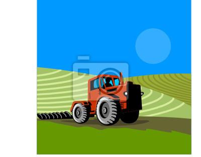 Tractor arando la granja