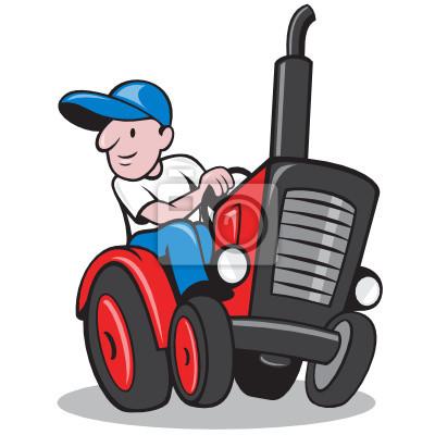 Tractor Cartoon Farmer Driving Vintage
